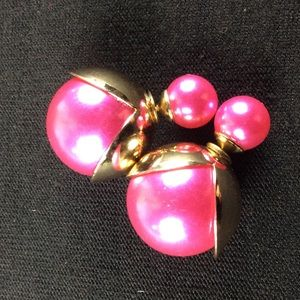 Jewelry - New Pink and Gold Double Ball Stud Earrings