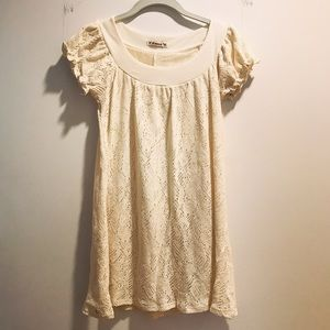 Ivory/cream-colored tatted lace mini dress