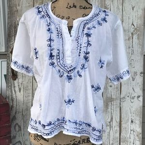 Mexicali Blues Tops - Mexicali Blues Maine embroidered boho top L