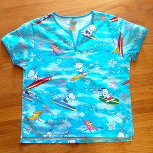 Peanuts Tops - Peanuts surfing Snoopy scrubs v-neck shirt size XS