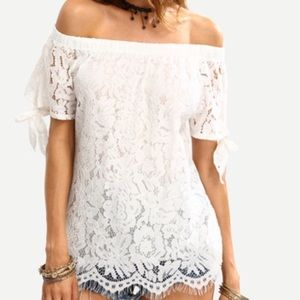 Off the shoulder/lace overlay blouse. Price firm