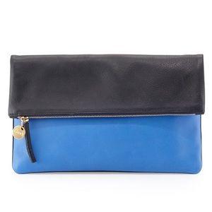 Clare Vivier Handbags - Clare V. Colorblock Foldover Clutch in Navy/Cobalt