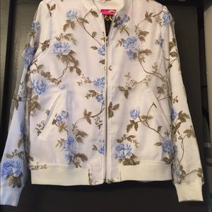 Tea n Cup Jackets & Blazers - White Floral Bomber Jacket