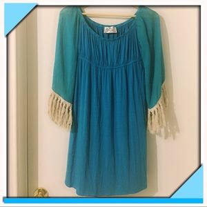 VaVa by Joy Han Aqua Blue Hippie Tassel Dress