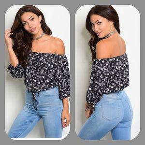 Black Floral Off Shoulder Top. Boutique 172e9ea711b5