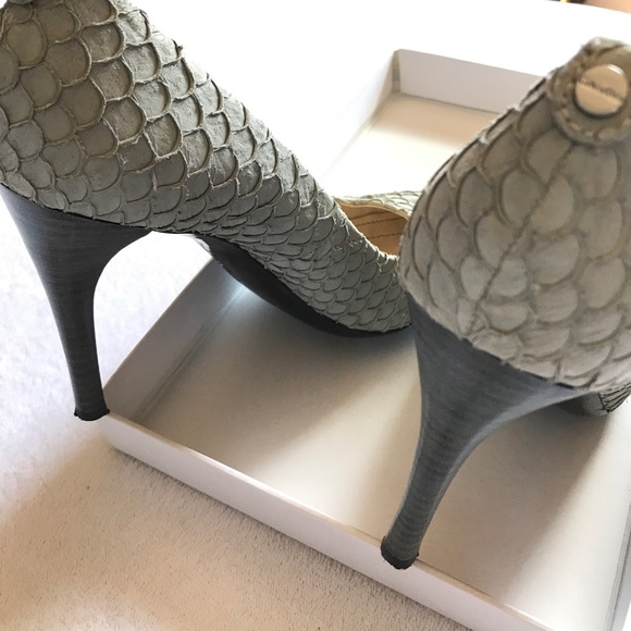 Calvin Klein Shoes - Calvin Klein Whinnie Fish Skin heels smoke color