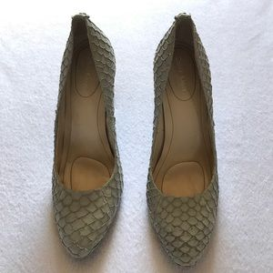 Calvin Klein Whinnie Fish Skin heels smoke color