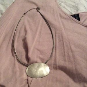 Jewelry - Silver Tone Costume Hammered Oval Emblem necklace.