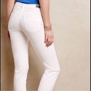 AG Stevie White slim straight denim jeans
