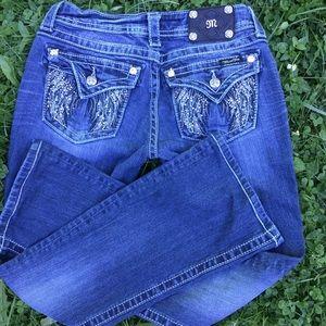 "Miss me jeans , boot cut , angel wings back, 26"""