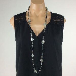 Jewelry - New Long Black and Gray Shell Necklace