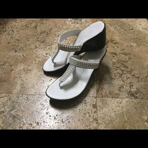Athena Alexander Shoes - Sparkle and sparkle white wedge sandal