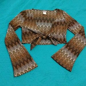 Rave Tops - Rave long sleeve halter top, browns and gold.