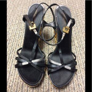 LOUIS VUITTON - Black/Gold Wedge Sandals