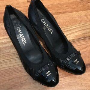 CHANEL ruffle cap toe heels made in Italy