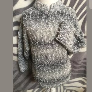 Honors Plus Sweaters - GRAY White Chunky Cable KNIT Sweater Shirt