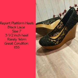 Report Collection Shoes - Wedge Heels, Black, Size 7 Report Worn Once