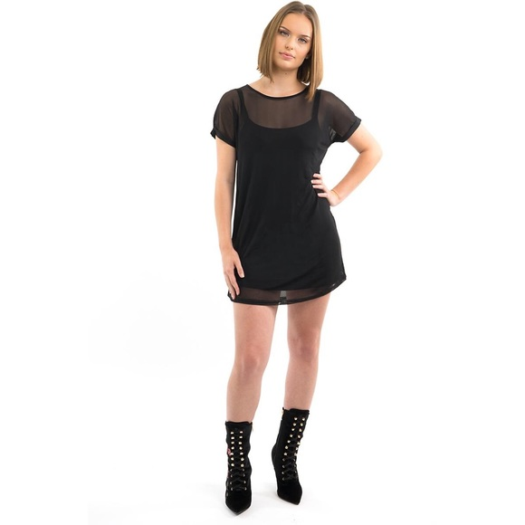 Style Link Miami Dresses Black Short Sleeve Mesh Overlay Mini