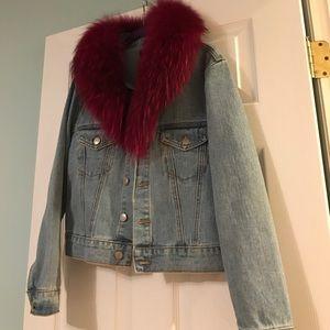 Jackets & Blazers - Brooklyn Denim Jacket with Genuine pink Fox fur