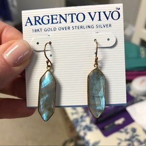 Argento Vivo Jewelry - Argento Vivo 18k gold&sterling laboradite earrings