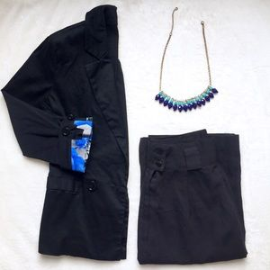 Jackets & Blazers - Black Blazer with Floral Printed Cuffs