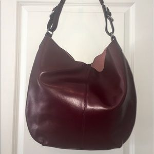 Co-Lab Maroon Leather Lg Tote w/removable lining.