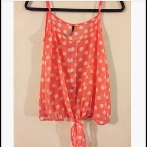 Tops - Sheer polkadot top with tie front