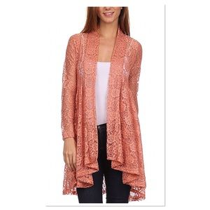 Peach Floral Lace Cardigan