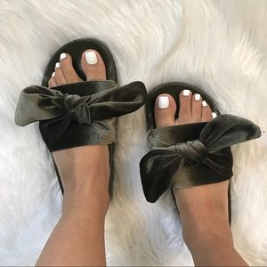 Shoes - Khaki / Olive Bow Slides