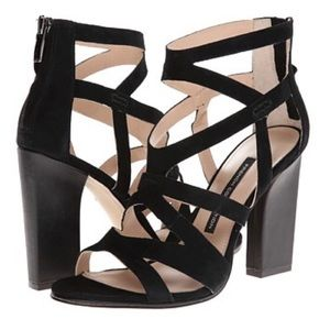 French Connection black strappy suede heels sz 7