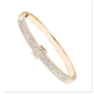Gold Hinged Bangle W/ Swarovski Crystals