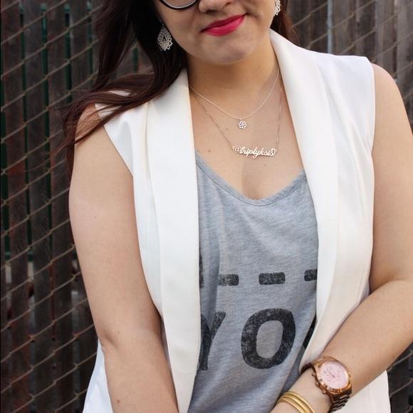 Jackets & Coats - Sleeveless White Blazer Vest