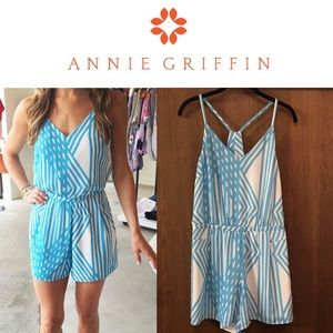 Annie Griffin Pants - NWOT Annie Griffin SeaBreeze Abstract Print Romper
