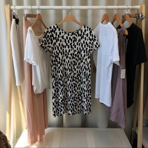 H&M Dresses - Black and White Spotted Shift Dress