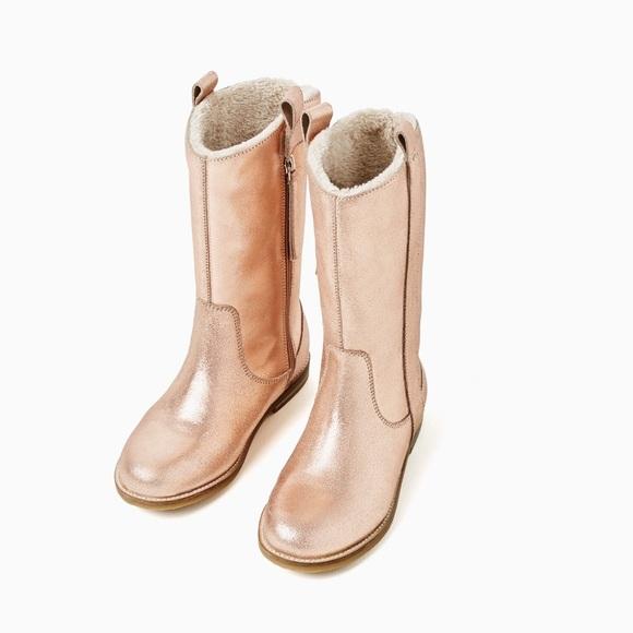 Zara Girls Rose Gold Metallic Leather