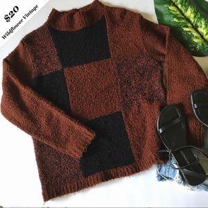 Vintage Brick Color Block Sweater