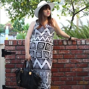 Black & White Geometric Print Maxi Dress