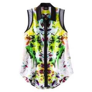 Prabal Gurung for Target Tops - Prabal Gurung Mirrored Floral Sleeveless Shirt