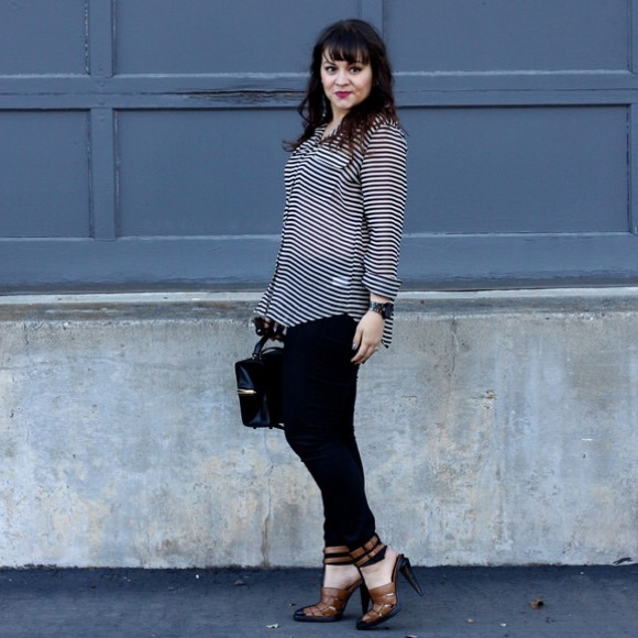 Old Navy Tops - Striped Sheer Button Up