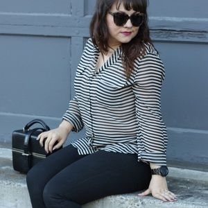 Striped Sheer Button Up