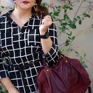Old Navy Dresses - Black & White Windowpane Shirtdress