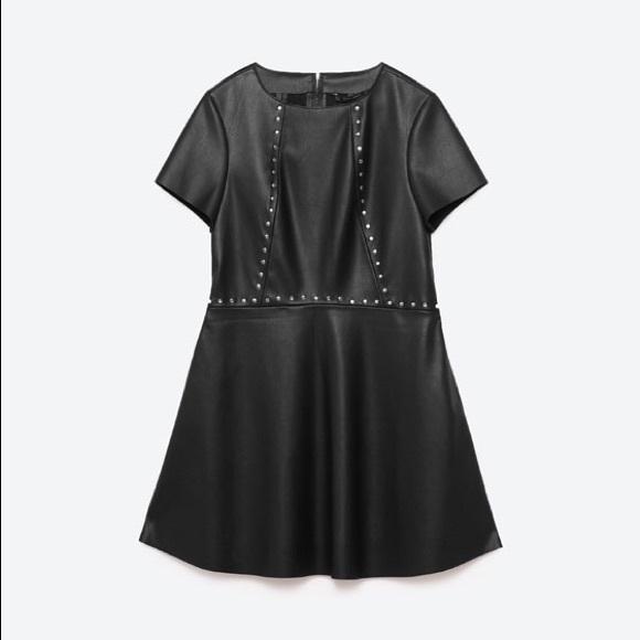 78d506be Zara Dresses   Studded Faux Leather Dress Large   Poshmark