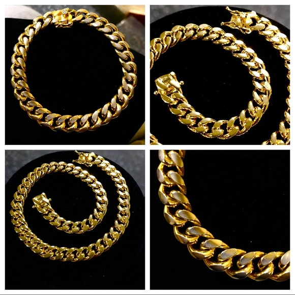 "Accessories - 14K Gold Plated Cuban Link Bracelet (8.5"")"