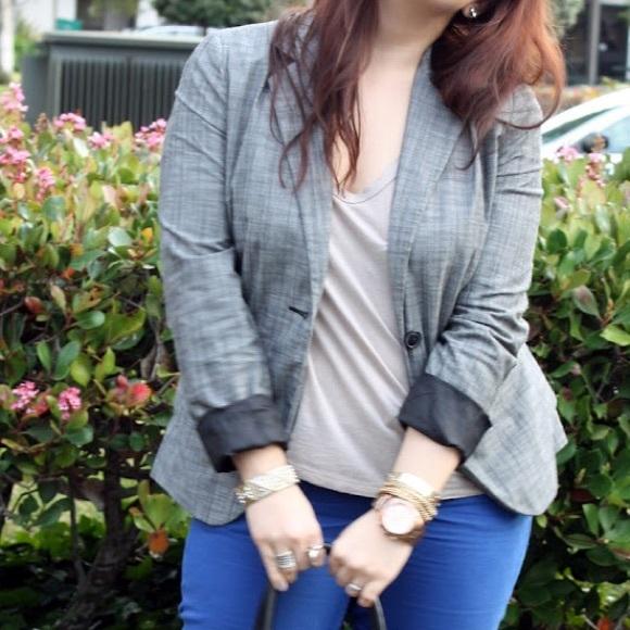 Apt. 9 Jackets & Coats - Grey Plaid Single Button Boyfriend Blazer
