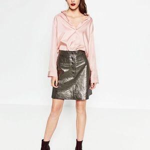 Zara silver metallic leather skirt -- small