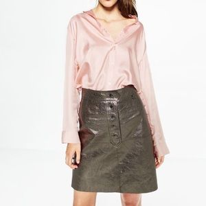 5e7ef878e686 Zara Skirts | Silver Metallic Leather Skirt Small | Poshmark