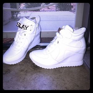 "Shoes - ✨✨🆕✨✨ ""SLAY"" White wedge Sneakers"