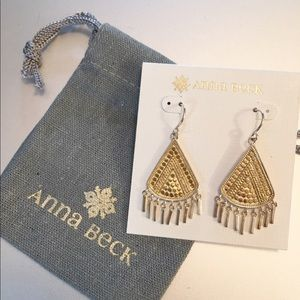 Anna Beck Jewelry - NWT mixed metal Anna Beck fan earrings Gold/silver