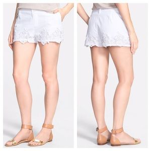 Lucky Brand Lace Trim Cotton Shorts White 26