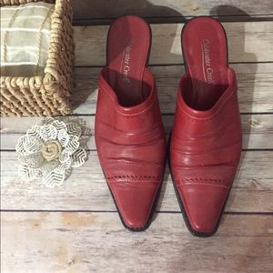 Coldwater Creek Shoes - Red Leather Western Mules Sz 8 Coldwater Creek